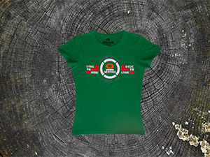 t-shirt donna live to ride verde