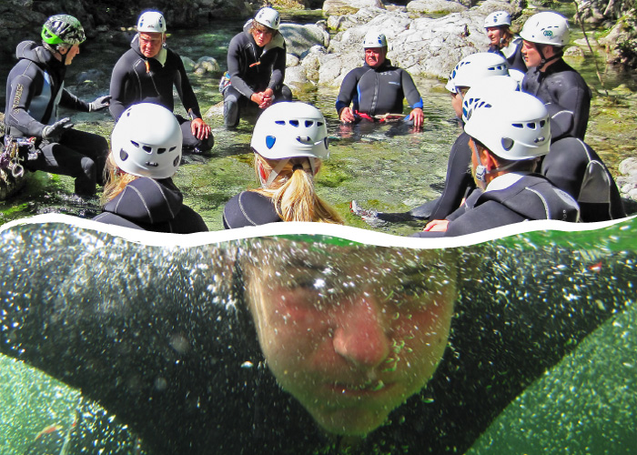 gruppo di discesa in canyoning